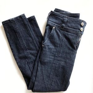 Anthro Pilcro High Rise Blue Straight Leg Jeans 26